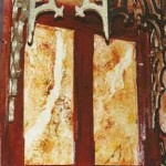 Detalle de marmolizado ocre y rojo, con oro.