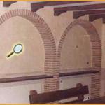 """Acabado """"Rustical"""", aplicado en paredes, conjugando decoración, con ladrillos, piedras y vigas de madera."""