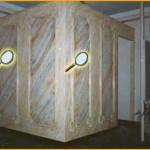 """Distribución realizada con """"pladur"""", y decorada con un conjunto de """"marmolizados y pátinas""""."""