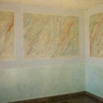 Estancia de paso, realizada en conjunto; marmolizados, drapeados y detalles.